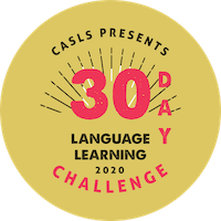 Button with 30-day language challenge written on it
